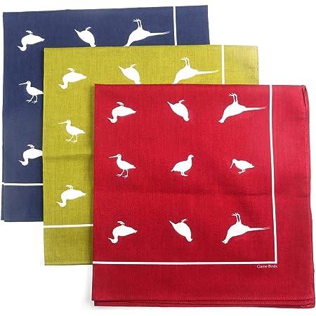 Huge 21 inch Bandana facemask handkerchief Game Birds Design Set of 3 Giant Cotton Hankies