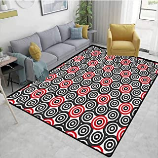 Geometric Circle Rugs for Bedroom Interlace Spiral Labyrinth Blind Oval Linked Mosaic Artistic Image Print Chair mat Carpet Red Black Area 5'x8'