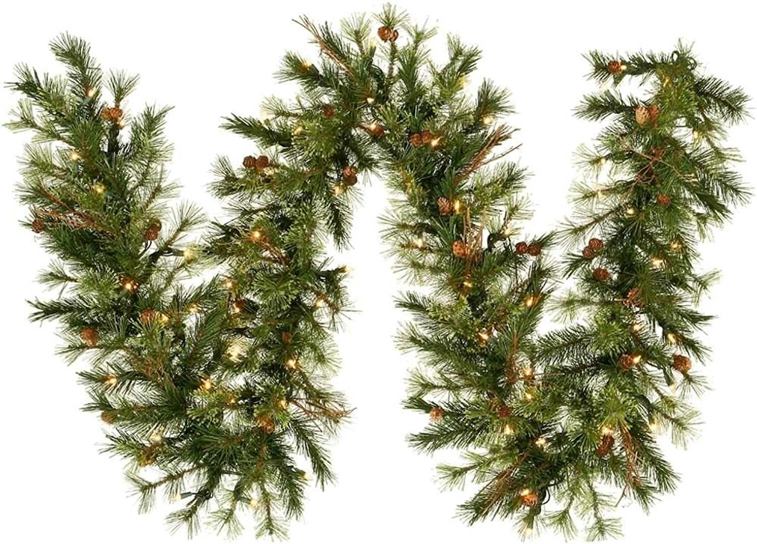 Vickerman 9' x 12  Mixed Country Pine Garland with 70 Clear lights
