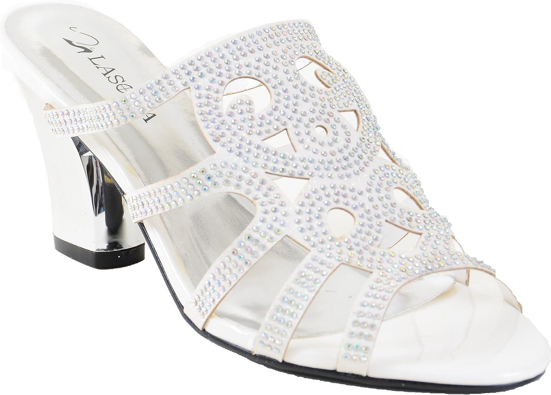 Fourever Funky Elegant Beaded Glitter Formal Wedding Bridal Heel Slide Sandals Women
