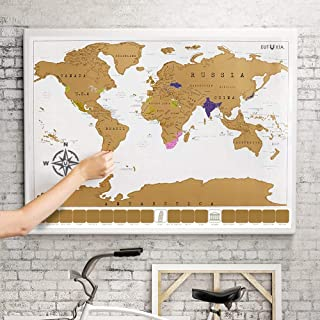 Eutuxia Scratch Off World Map Poster. Mark and Track the Places You've Traveled by Scratching and Reveal Multiple Colors U...
