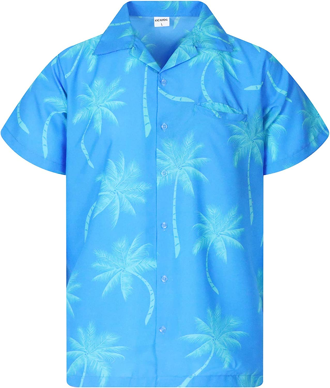 KING KAMEHA Hawaiian Shirt for Men Funky Casual Button Down Very Loud Shortsleeve Unisex Palmshadow