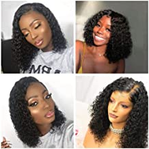 V SHOW Hair Lace Front Wigs Human Hair Brazilian Bob Kinky Curly Wet and Wavy Virgin Hair Pre Plucked Lace Wigs 10 Inches for Black Women