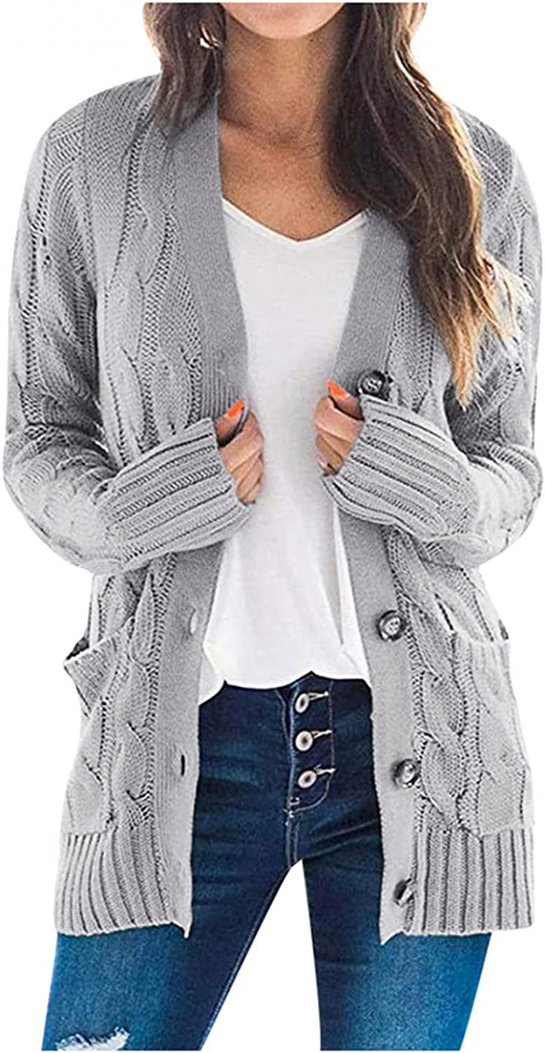 Women's Long Sleeve Cable Knit Sweater Open Front Cardigan Solid Color Loose Casual Button Lightweight Outerwear