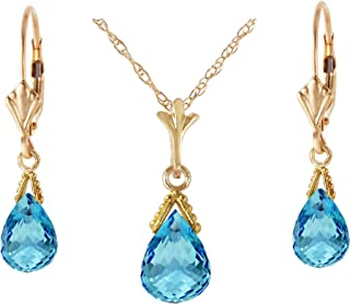 ad792c9de6cd61 Galaxy Gold 14k Solid Gold Jewelry Set: Natural Briolette Blue Topaz  Pendant Necklace and Dangle