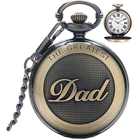 Reloj de bolsillo para hombre, reloj de bolsillo vintage de cuarzo con cadena para hombres, reloj de bolsillo con colgante para el mejor papá/abuelo/abuelo, regalo retro para cumpleaños día del padre