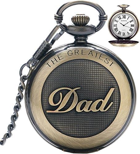 Montre de poche à quartz vintage avec chaîne pour homme, montre de poche pour le plus grand papa/grand-père/grand-pèr...