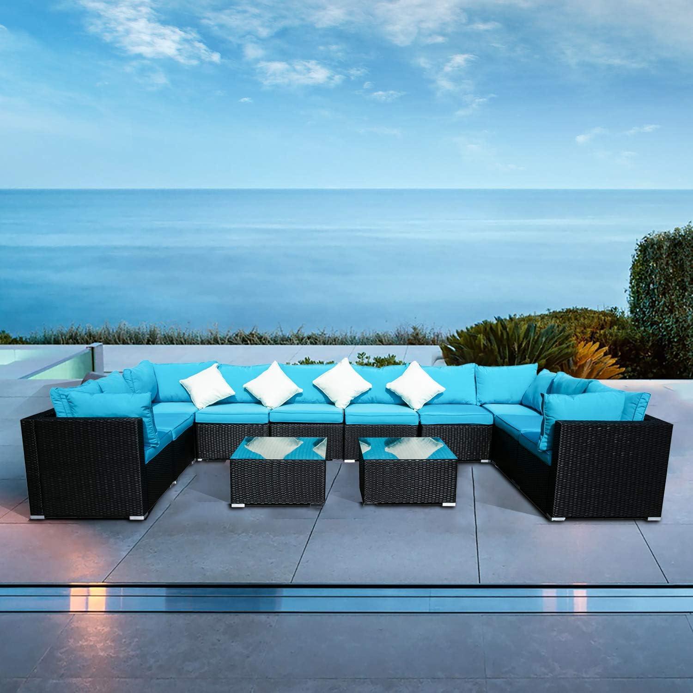 Under blast sales Klismos Outdoor Patio Furniture Set Sofa Sectional High quality Wicker Rattan