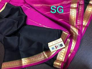 Fashion Vibes Pure Mysore Silk Crepe Saree with Contrast Pallu