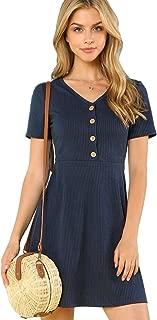 Women's Button Up Ribbed Knit Dress V Neck Short Sleeve Casual Summer Dress