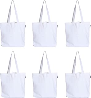 ACCENTHOME 100% Cotton Canvas Plain Customise sketachable Tote Bag, Shopping Bag, Beach Bag with Inner Pocket in 45x40x10 cm Spacious in Color White Pack of 6