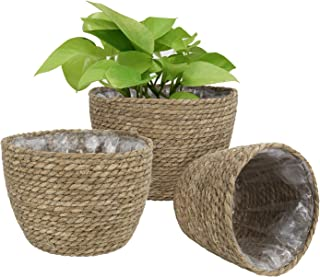 LA JOLIE MUSE Seagrass Planter Basket Indoor Outdoor, Flower Pots Cover, Plant Containers, Natural, 10 inch(3-Pack)