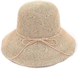 3ff406ade2c Ruiyue Summer Straw Hats, Summer Foldable Straw Bowknot Sun Hats Fine Hand  Crochet Sunscreen Beach