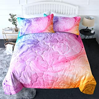 BlessLiving 3 Piece Pink Comforter Set with Pillow Shams Marble Bedding Set with 3D Printed Designs Reversible Comforter Queen Size Soft Comfortable Machine Washable Girls Abstract Pastel Pink Purple