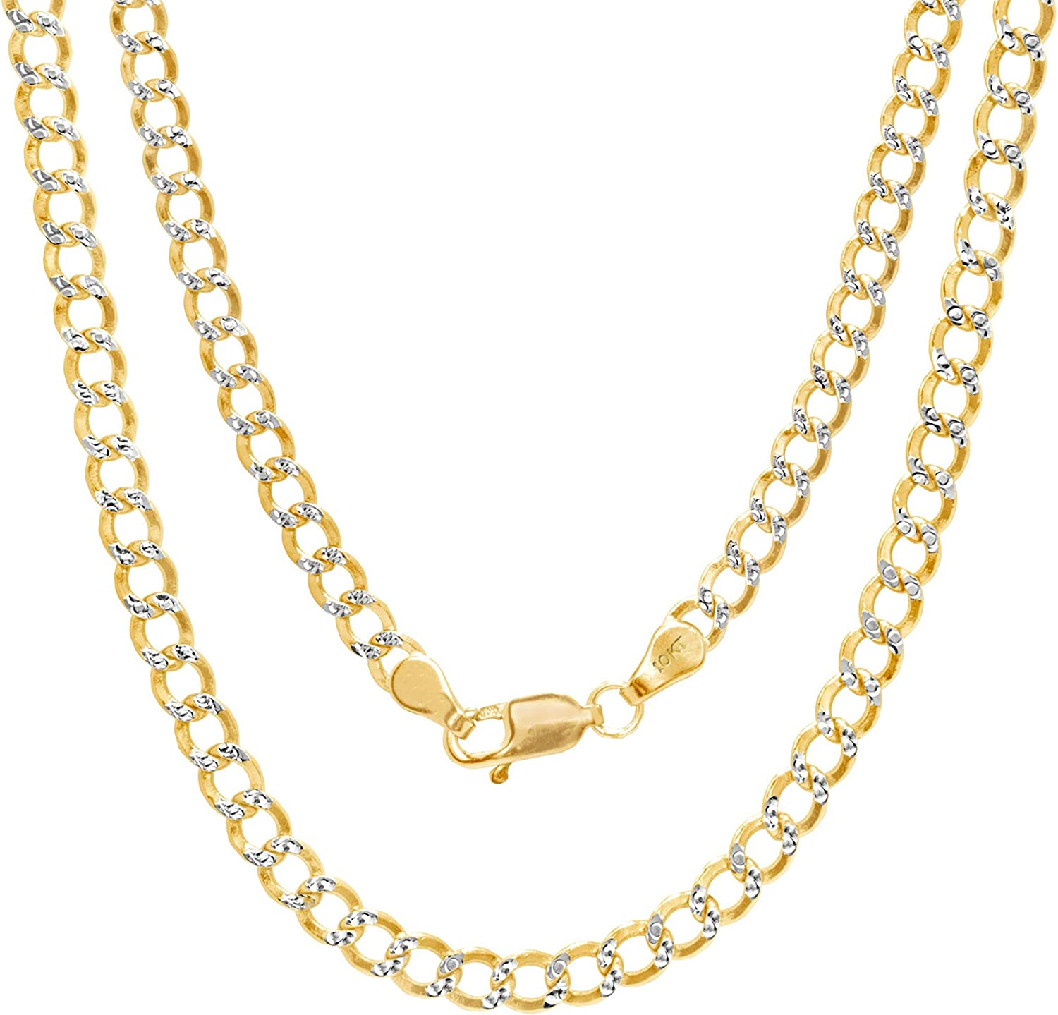 Nuragold 10k Yellow Gold 3.5mm Cuban Chain Curb Link Diamond Cut Pave Two Tone Pendant Necklace, Mens Womens Lobster Lock 16