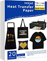 """Iron-On Heat Transfer Paper for Dark Fabric 20 Pack 8.3x11.7"""" T-Shirt Transfer Paper for Inkjet Printer Wash Durable,..."""