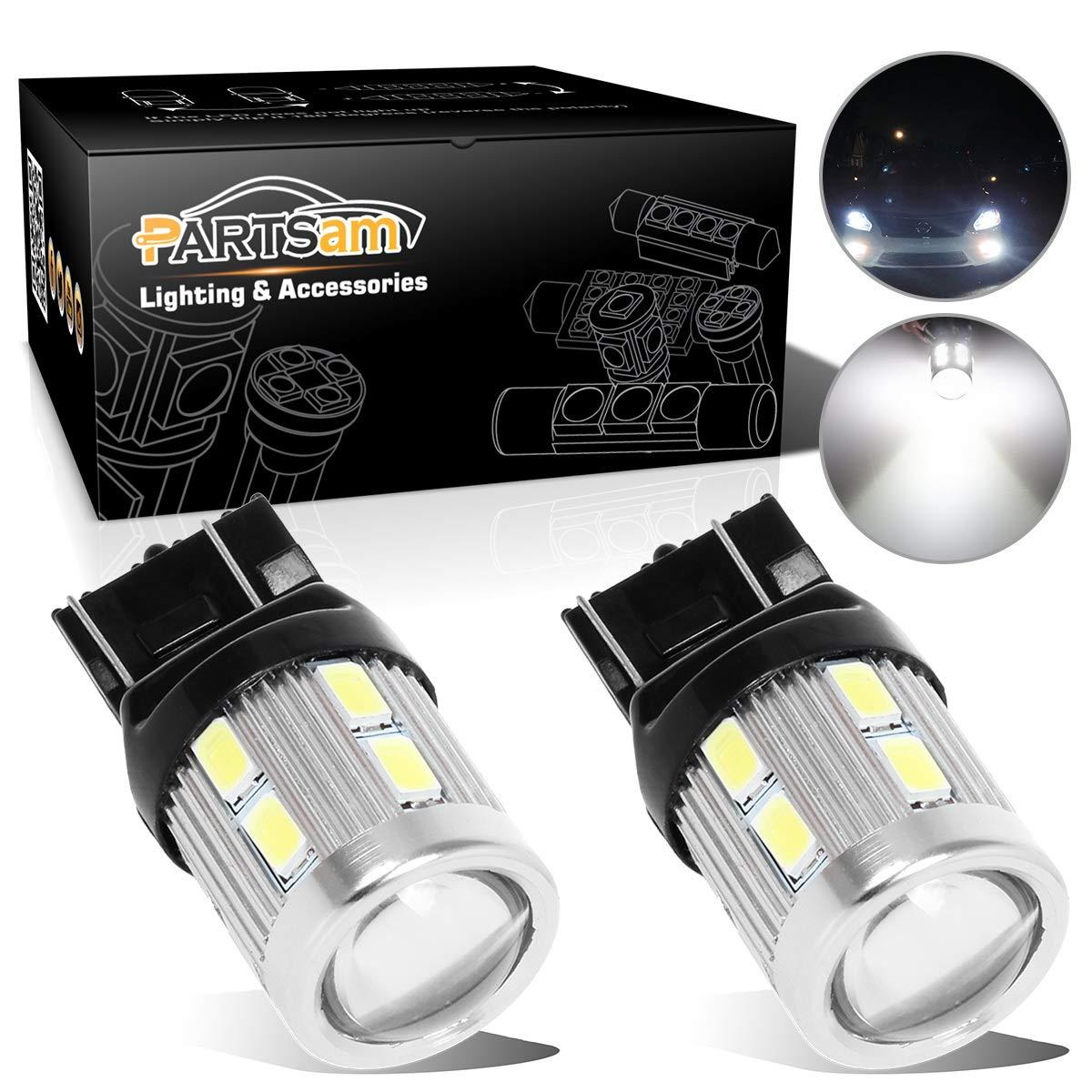 Partsam 2pcs 6000K White Super Power 7443 7440 W21W Backup Light Reverse Lamps 1-Cree-XPE 5730 12SMD Daytime Running Light DRL Parking Light