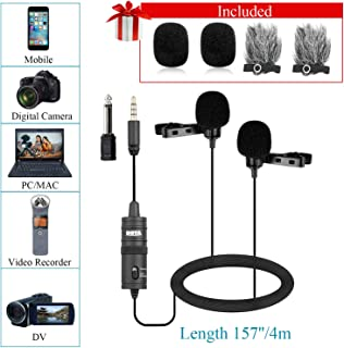 Dual Lavalier Microphone for Smartphone Camera Vlog, 157 Inch/4m BOYA BY-M1DM Dual-head Lapel Universal Mic with 1/8 Plug Adapter for iPhone X 8 7 Samsung Canon Nikon DSLR Camcorders PC Audio Recorder