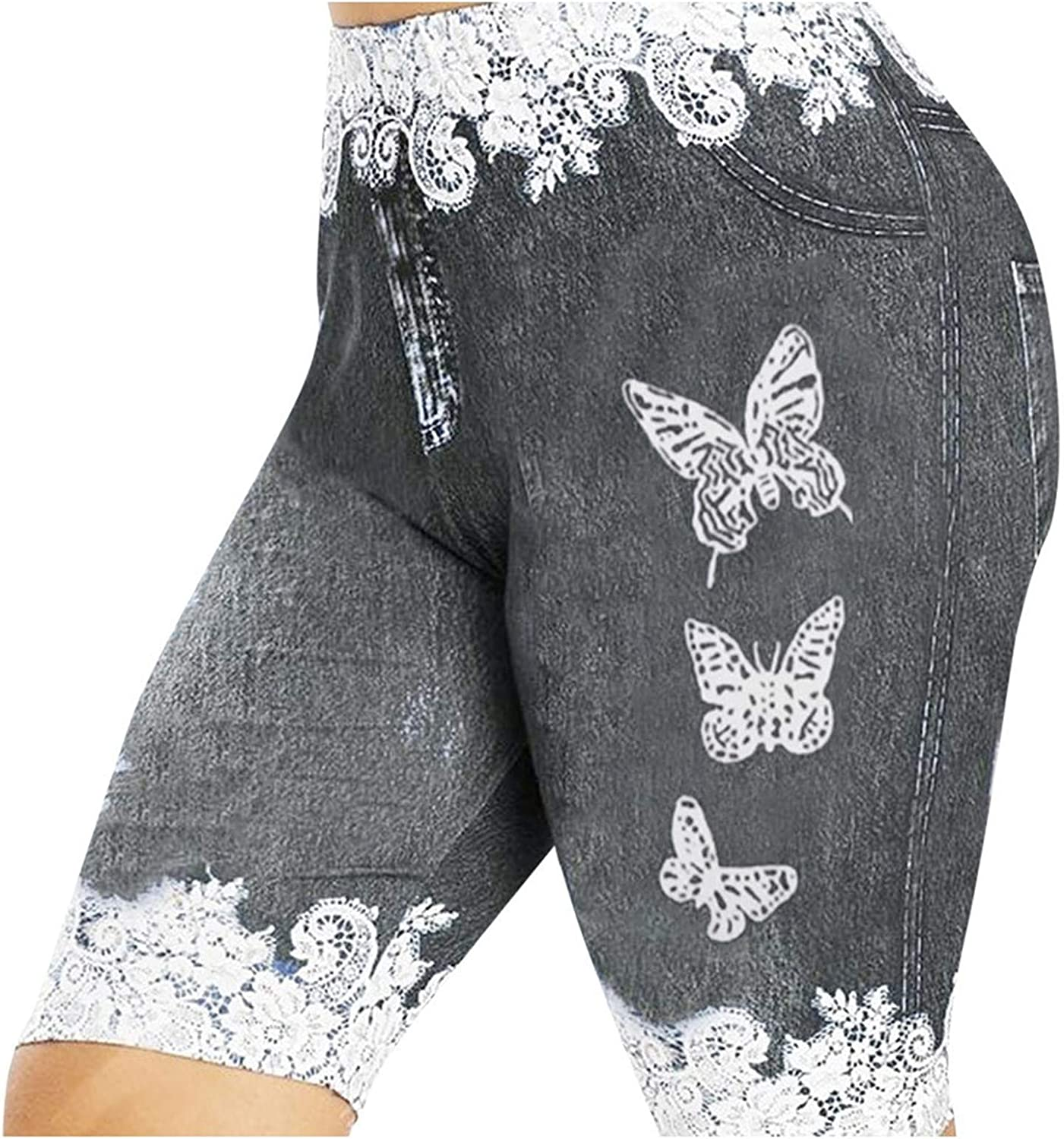 Women's Plus Size Skinny Shorts Butterfly Print Casual Jeggings Faux Denim Jean Shorts Workout Shorts with Pockets