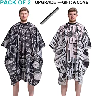 Pack of 2 Barber Cape Haircut Gown Professional Salon Cutting Barber Hairdressing Haircut Barber Gown Cape Hairdresser Apron Lightweight (Black & White Pattern)