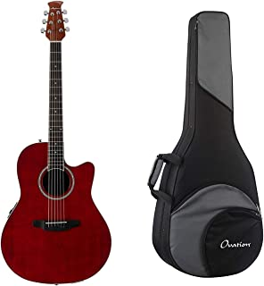 Ovation Applause Balladeer Mid-Depth Acoustic-Electric Guitar - Ruby Red + Ovation Zero Gravity Guitar Case