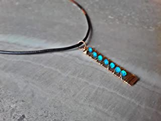 Blue Welo Opal Wire Wrapped Wire Wrapped Boho Style Copper and Gold Bar Pendant Necklace