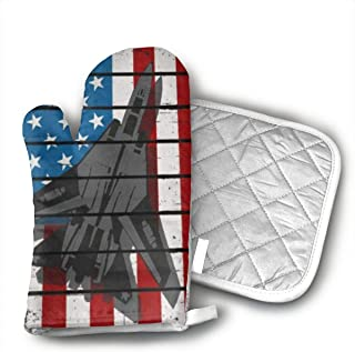 Jet Fighter Military Air Force Kitchen Potholder - Heat Resistant Oven Gloves to Protect Hands and Surfaces with Non-Slip Grip,Ideal for Handling Hot Cookware Items.