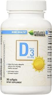Nature's Wonder Vitamin D3 5000 IU (125mcg) Soft Gels, 365 Count