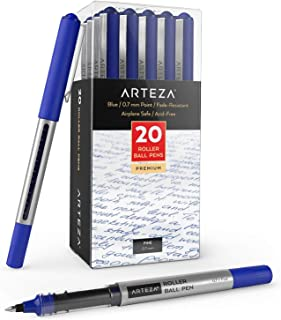 Arteza Rollerball Pens, Pack of 20, 0.7mm Blue Liquid Ink Pens for Bullet Journaling Fine Point Rollerball for Writing, Ta...