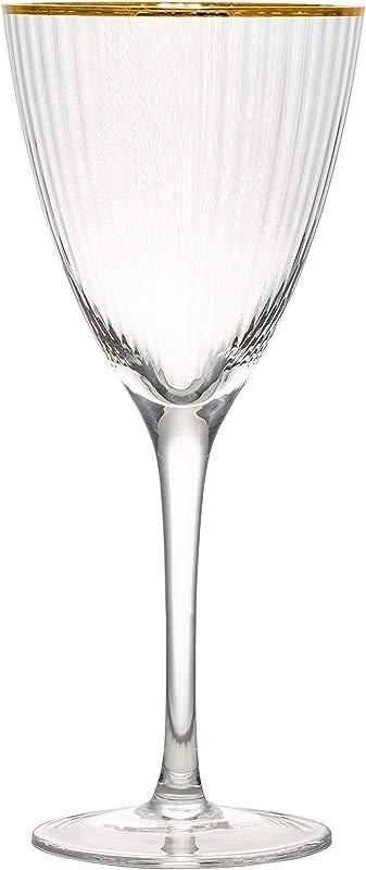 10 Strawberry Street MRKLG WW4 Markle White Wine Glass 12 Oz Gold Rim