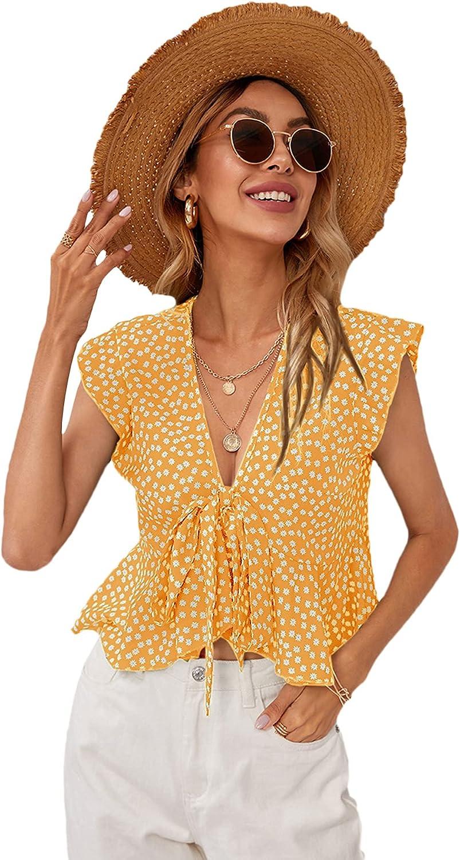 SweatyRocks Women's Short Sleeve Deep V Neck Self Tie Front Crop Top Blouse