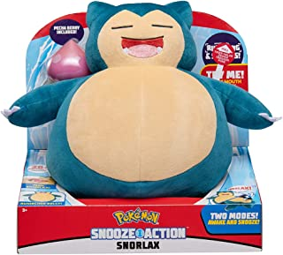 Pokemon Snooze Action Snorlax Plush, 10 Plush Toy - Features Over 20 Authentic Snorlax Sounds, with 2 Modes of Play: Aslee...