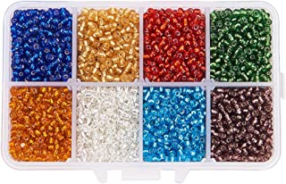 Pandahall 1 Box 8/0 Mixed Color Glass Seed Beads Transparent Silver Lined Round Loose Spacer Beads, 3mm