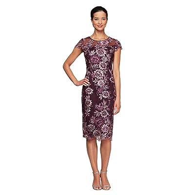 Alex Evenings Midi Length Embroidered Cap Sleeve Shift Dress (Plum) Women