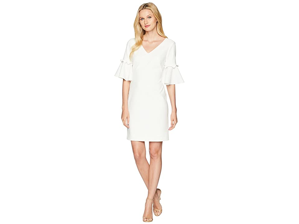 LAUREN Ralph Lauren Jordana Short Sleeve Day Dress (Cream) Women