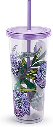 Vera Bradley Acrylic Insulated Travel Tumbler with Reusable Straw,  24 Ounces,  Lavender Meadow
