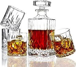 ELIDOMC 5PC Italian Crafted Crystal Whiskey Decanter & Whiskey Glasses Set, Crystal Decanter Set With 4 Whiskey Glasses, 100% Lead Free Whiskey Glass Set