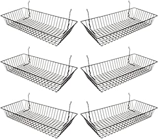 "Black Wire Basket for Pegboard, Slatwall or Gridwall (Set of 6), Merchandiser Baskets, Perfect For Commercial or Retailer, Black Vinyl Coated Wire Basket, 24"" L x 12"" D x 4"" H, Shallow Baskets"