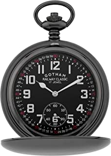 ساعت مچی مکانیکی جیبی مردانه Gotham's Gun-Tone Railroad Dial Double Hunter 17 Jewel