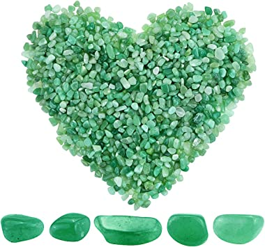 Twdrer 2lb/950g Small Natural Green Aventurine Tumbled Chips Crushed Stone Irregular Shaped Quartz Rock Healing Reiki Crystal