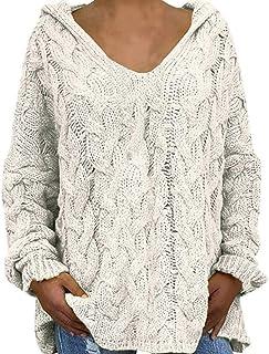 BAINA Mujer Jersey Sexy Cuello V Suéter Suelta Casual Color Sólido Giro de Punto Sueter Cómodo Manga Larga Otoño Vestidos ...