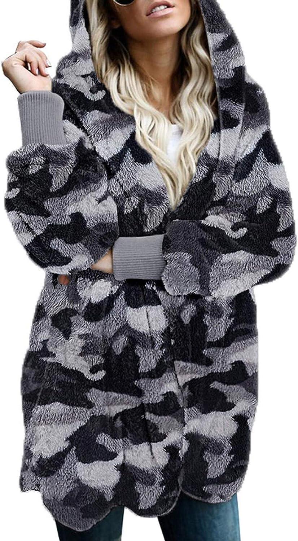 YUIJN Women's Faux-Fur Shaggy Winter Coat Long Sleeve Outwear Hooded Jacket