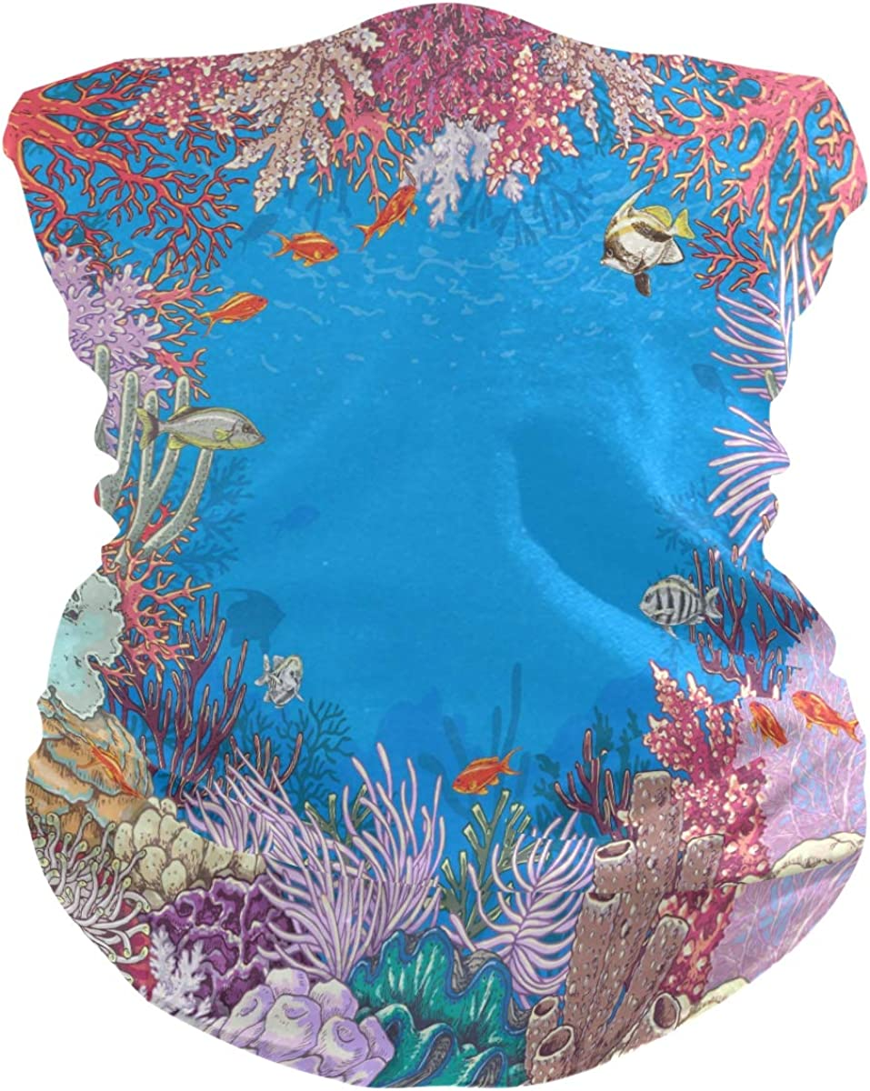 Women Bandana Face Masks, Underwater Corals And Fishes Neck Gaiter Mask Headband Sport for Men Face Scarf