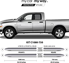 My Car My Way (Fits Ram 1500 2009-2018 6.33' Box Quad Chrome Body Side Molding Door Guard Moulding Cover Trim Door Protector