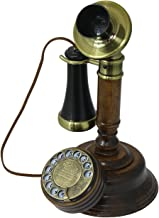 OPIS 1921 Cable - Model C - Antique Style Telephone Made from Real Wood, Classic Black Plastic Parts Partially Gilded with Brass - Functional Rotary dial and Classic Metal Bell