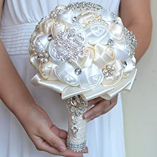 Pauwer Bridal Bouquets for Wedding Satin Rose Flower Brooch Bouquet Bride Bridesmaid Holding Flower Rhinestone Wedding Bridal Bouquet
