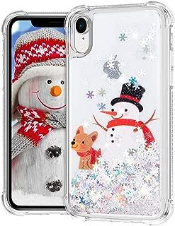 Ruky iPhone XR Christmas Case, Glitter Liquid Flowing Bling Merry Christmas Snowman Pattern Soft TPU Fashion Cute Women Girls Children Christmas Case for iPhone XR (Snowman&Dog)