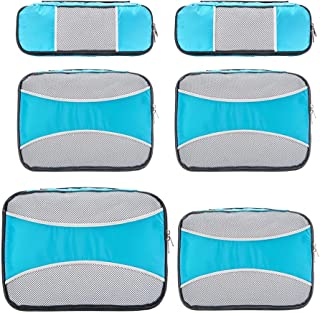 6 Set Packing Cubes for Travel,ZOMAKE Packing Organizers Bag for Carry on Luggage Light Blue
