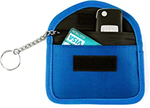 Faraday Bag ACBungji Car Key FOB Keyless Entry Signal Blocker ID Credit Card Anti-Copy Anti-Theft Case RFID Signals Shielding Pouch Wallet Devices Privacy Protection (Blue)
