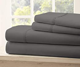 Queen Size Royal Collection 1900 Thread Count Bamboo Quality Bed Sheet Set With 1 Fitted, 1 Flat and 2 Standard Pillow Case.Wrinkle Free Shrinkage Free Fabric, Deep Pockets (Dark Gray)